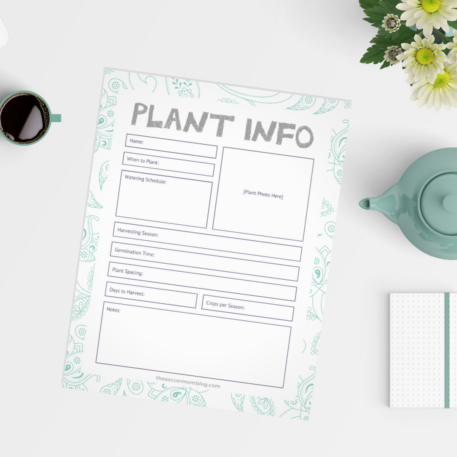 printable sheet for writing down plant information for gardeners